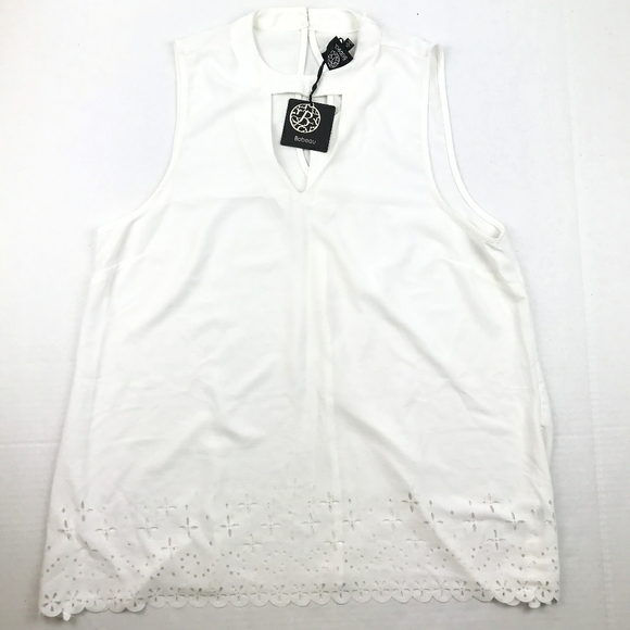 Bobeau Women's White Blouse W/ High Neck
